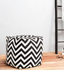 Rocca Black & White Weaves Cotton Printed Pouffe by Purplewood