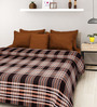 Rosepetal Light & Dark Brown Acrylic Checks 95 x 85 Inch Double Bed Blanket