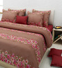 Rosepetal Brown Cotton Floral Double Bed Sheet Set (with Pillow Covers)