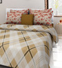 Rosepetal Beige Cotton Tartan Checkered with Coral Abstract 100 x 90 Inch Bed Sheet (with Pillow Covers)