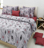 Rosepetal Gray & White Cotton Floral Double Bed Sheet Set (with Pillow Covers)