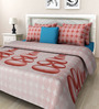 Rosepetal Terracotta & Puce Cotton Printed 100 x 90 Inch Bed Sheet (with Pillow Covers)