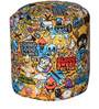 Round Footstool with Beans with Yellow Cartoon Print by Sattva
