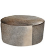 Round Leather Pouffe in Grey Colour by SWHF