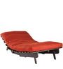Rust Coloured Single Sofa Futon in Walnut Finish by ARRA