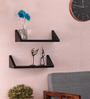 Theia Contemporary Wall Shelves Set of 2 in Natural Teak by CasaCraft