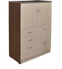 S Line Mid Height Storage Cabinet in Wenge & Pine Color by Crystal Furnitech