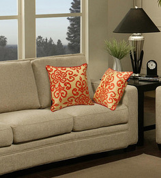 S9Home By Seasons Gold & Orange Polyester 16 X 16 Inch Contemporary Cushion Cover With Piping - Set Of 2