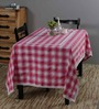 S9home by Seasons Pink Poly Cotton 6-seater Table Cover and Napkin 7-piece Set