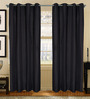 S9Home by Seasons Black Polyester Geometric Curtain - Set of 2