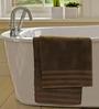S9home by Seasons Brown Cotton Plain & Stripes Bath Towel