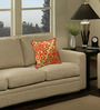 S9Home by Seasons Gold & Orange Polyester 16 x 16 Inch Contemporary Cushion Cover with Piping