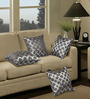 S9Home by Seasons Grey & Silver Polyester 16 x 16 Inch Cushion Cover with Piping - Set of 4