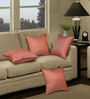 S9Home by Seasons Orange Polyester 16 x 16 Inch Cushion Cover with Piping - Set of 4