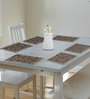 S9home by Seasons Premium Quality 6 Seater Beige & Grey Polyester Table Placemats with Border - Set of 6