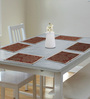 S9home by Seasons Premium Quality 6 Seater Brown & Red Polyester Table Placemats with Border - Set of 6