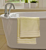 S9home by Seasons Yellow Cotton Plain & Stripes Bath Towel