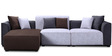 San Martin RHS Three Seater Sofa with Lounger in Beige & Brown Color by CasaCraft