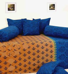 Salona Bichona Blue & Blue Cotton Diwan Set - Set of 8