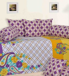 Salona Bichona Purple Cotton Paisley Diwan Set - Set of 8