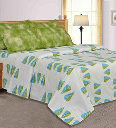 Salona Bichona White, Blue, & Green Bed Sheet Set