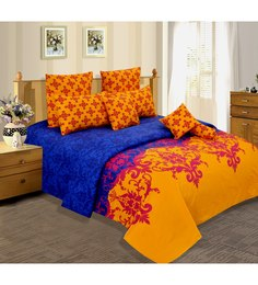 Salona Bichona Yellow Cotton Geometric Bed Sheet Set (with Pillow Covers)