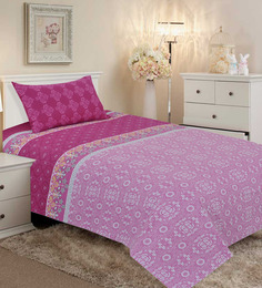 Salona Bichona Magenta Cotton 98 x 86 Inch Double Bed Sheet (with Pillow Covers)