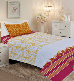 Salona Bichona Yellow Cotton 98 x 86 Inch Double Bed Sheet (with Pillow Covers)