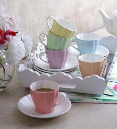 Sanjeev Kapoors Flute Cups & Saucers - Set of 6