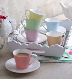Sanjeev Kapoors Ribbed Cups & Saucers - Set of 6