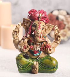 Sanskruti Multicolour Polyresin Ganesh with Turban Statue