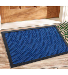Saral Home Blue Coir 24 x 16 Inch Outdoor Decorative Heavy Duty Mat