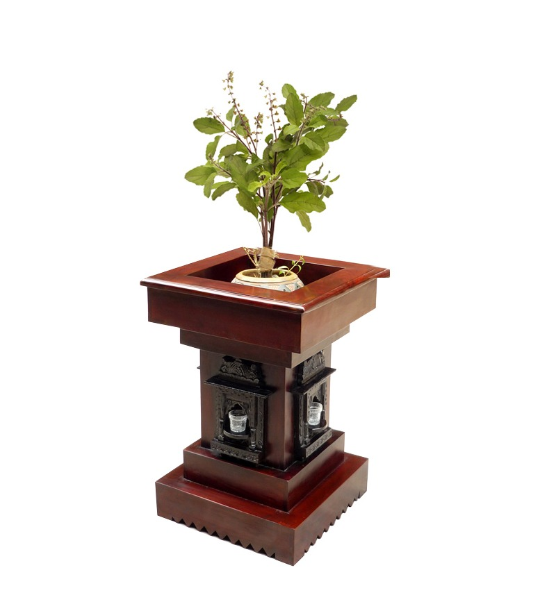 Saffron Carved Tulsi Planter By Mudra Online Pots amp Planters Home Decor Pepperfry Product
