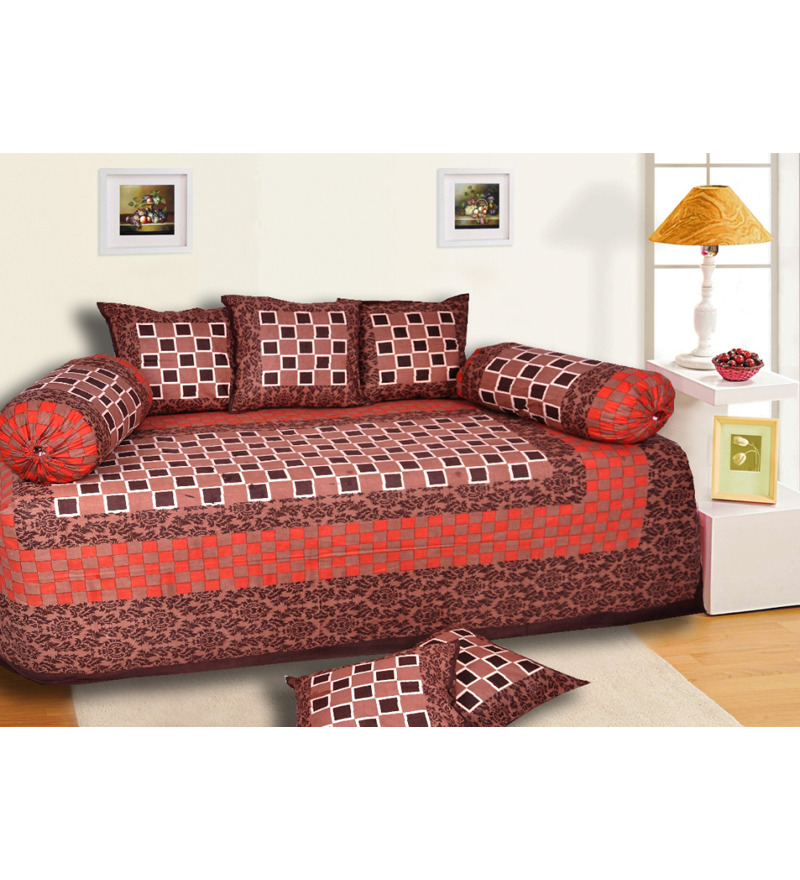 Salona bichona coffee n red checkered diwan set set of 8 for Diwan bed set