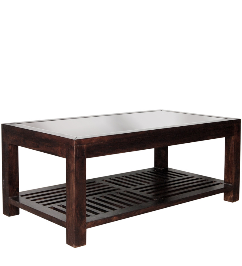 San Juan Solid Wood Coffee Table With Glass Top In