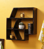 Crafts Land Dark Brown MDF Hand Painted Abstract Shaped Wall Shelf