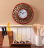 Safal Quartz Brown MDF 12 Inch Abstract Designs in Round Combination Wall Clock