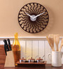 Safal Quartz Brown MDF 12 Inch Round Curved Lines with Dots Wall Clock