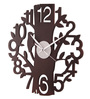 Safal Quartz Brown MDF 12 Inch Round Tree with Sparrow & Figures Wall Clock