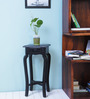 Lyde End Table with Curved Legs in Espresso Walnut Finish by Amberville