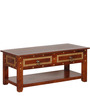 Advara Coffee Table with Brass Repousse Work by Mudramark