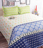 Salona Bichona Blue Cotton Abstract Double Bed Sheet (with Pillow Covers)