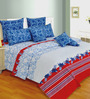 Salona Bichona Blue Cotton Abstract 106 x 106 Inch King Size Bed Sheet (with Pillow Covers)
