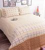 Salona Bichona Brown 100% Cotton Queen Size Bedsheet - Set of 3