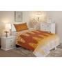 Salona Bichona Brown Cotton Stripes & Checks Bed Sheet Set (with Pillow Cover)