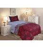 Salona Bichona Reds Cotton Stripes & Checks Bed Sheet Set (with Pillow Cover)