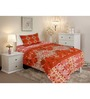 Salona Bichona Red Cotton Stripes & Checks Single Bed Sheet Set (with Pillow Cover)