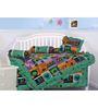 Salona Bichona 5-Piece Cotton Crib Bedding Set in Green Colour (1 Dohar + 1 Gaddi + 2 Bolsters + 1 Pillow)