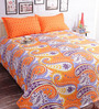 Salona Bichona Orange 100% Cotton Queen Size Bedsheet - Set of 3
