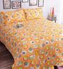 Salona Bichona Orange 100% Cotton Queen Size Bedsheet - Set of 3